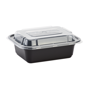 Karat 12oz PP Plastic Microwavable Rectangular Food Containers & Lids - Black - 150 ct