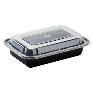 Karat 16oz PP Injection Molded Microwaveable Black Food Containers with lids