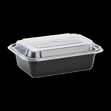 Karat 24oz PP Plastic Microwavable Rectangular Food Containers & Lids - Black - 150 ct
