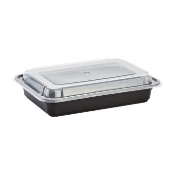 Karat 28oz PP Plastic Microwavable Rectangular Food Containers & Lids - Black - 150 ct