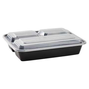 Karat 32oz PP Plastic Microwavable Rectangular Food Containers & Lids - Black - 3 Compartments - 150 ct