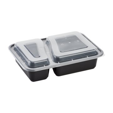 Karat 30oz PP Plastic Microwavable Rectangular Food Containers & Lids - Black - 2 Compartments - 150 ct