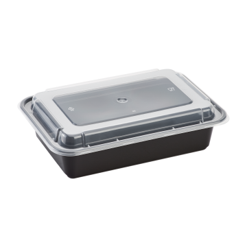 Karat 38oz PP Plastic Microwavable Rectangular Food Containers & Lids - Black - 150 ct