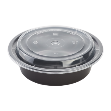 Karat 16oz PP Plastic Microwavable Round Food Containers & Lids - Black - 150 ct