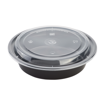 Karat 24oz PP Plastic Microwavable Round Food Containers & Lids - Black - 150 ct