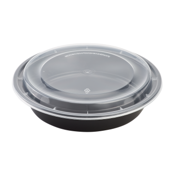 Karat 48oz PP Plastic Microwavable Round Food Containers & Lids - Black - 150 ct