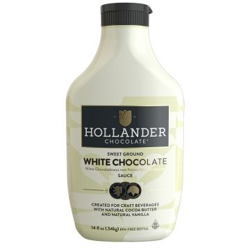 Hollander Sweet Ground White Chocolate Sauce (14 fl oz), J-Chocolate-WMS (14oz bottle)