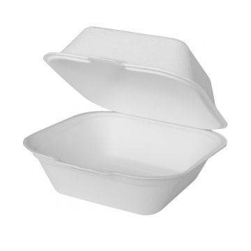 Karat Earth 6''x6'' PFAS Free Compostable Bagasse Hinged Containers - 500 ct