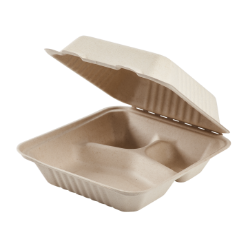 Karat Earth 8'' x 8'' Compostable Bagasse Hinged Containers, 3 Compartments - 200 ct