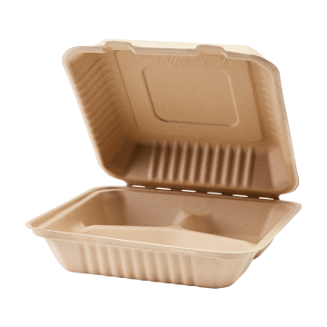 Karat Earth 9'' x 9'' Natural Compostable Bagasse Hinged Containers, 3 Compartments - 200 ct