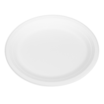 Karat Earth 12.5''x10'' Compostable Bagasse Oval Plates - 500 ct, KE-BPO12510-1C