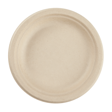 Karat Earth 6'' Compostable Bagasse Round Plates, Natural  - 1,000 ct