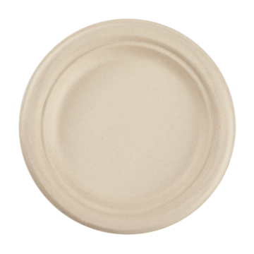 Karat Earth 7'' Compostable Bagasse Round Plates, Natural  - 1,000 ct
