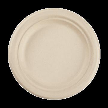 Karat Earth 7'' Compostable Bagasse Round Plates, Natural  - 1,000 ct