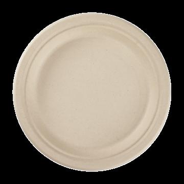 Karat Earth 9'' Compostable Bagasse Round Plates, Natural - 500 ct