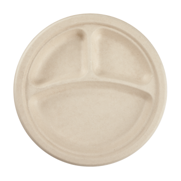 Karat Earth 9'' Compostable Bagasse Round Plates, Natural - 3 Compartments - 500 ct