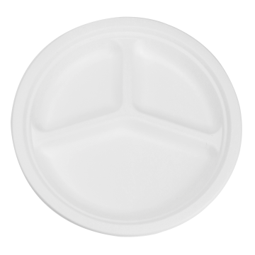 Karat Earth 10'' Compostable Bagasse Round Plates - 3 Compartments - 500 ct, KE-BPR10-3C