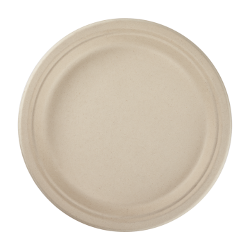 Karat Earth 10'' Compostable Bagasse Round Plates, Natural - 500 ct