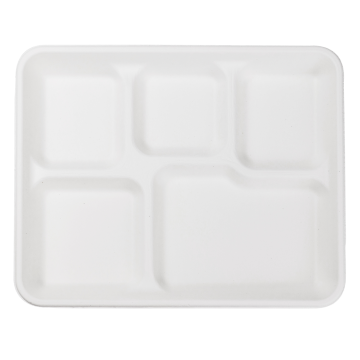 "Karat Earth 10""x8"" Bagasse Food Tray - 5 Compartments - 500 ct, KE-BT108-5C"