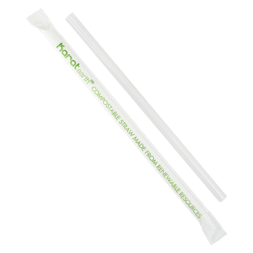 "Karat Earth 7.75"" Giant PLA Straws (7mm) Paper Wrapped - Clear - 2000 ct"