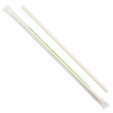 "Karat Earth 9"" Jumbo Paper Straw Wrapped - White"