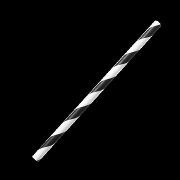 "Karat Earth Stir Unwrapped Paper Straw_5.25"" (Black Spiral)"
