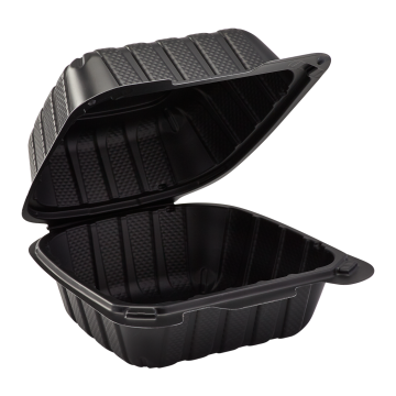 """Karat Earth 6"""" x 6"""" Mineral Filled PP Hinged Container, 1 compartment - Black"""
