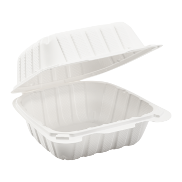 """Karat Earth 6"""" x 6"""" Mineral Filled PP Hinged Container, 1 compartment - White"""