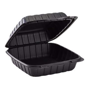"Karat Earth 8"" x 8"" Mineral Filled PP Hinged Container, 1 compartment - Black"