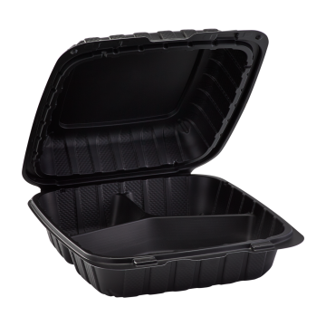 "Karat Earth 8"" x 8"" Mineral Filled PP Hinged Container, 3 compartment - Black"