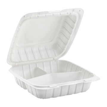 "Karat Earth 8"" x 8"" Mineral Filled PP Hinged Container, 3 compartment - White"