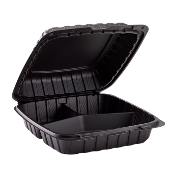 "Karat Earth 9"" x 9"" Mineral Filled PP Hinged Container, 3 compartment - Black"