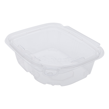 Karat 12oz PET Plastic Tamper Resistant Hinged Deli Container with Lid - 200 ct