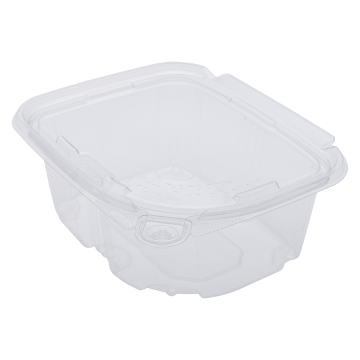 Karat 16oz PET Plastic Tamper Resistant Hinged Deli Container with Lid - 200 ct