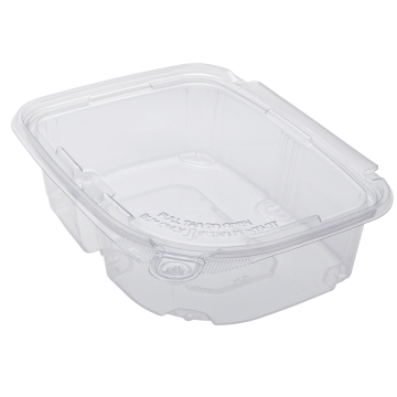 Karat 24oz PET Plastic Tamper Resistant Hinged Deli Container with Lid - 200 ct