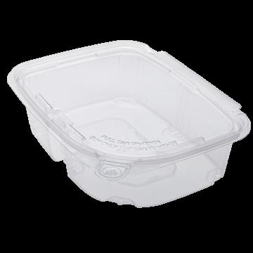 Karat 24oz PET Plastic Tamper Resistant Hinged Deli Container with Lid - 200 ct