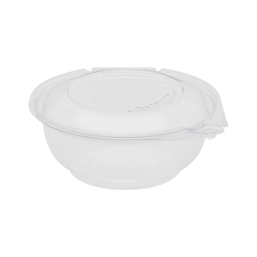 Karat 24oz PET Plastic Tamper Resistant Hinged Salad Bowl with Dome Lid - 240 sets