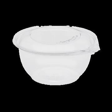 Karat 32oz PET Plastic Tamper Resistant Hinged Salad Bowl with Dome Lid - 240 sets