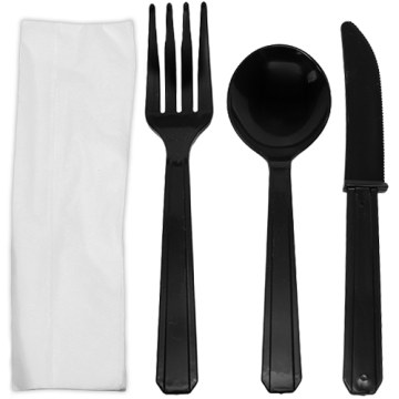 Karat PS Plastic Heavy Weight Cutlery Kits - Black - 250 ct