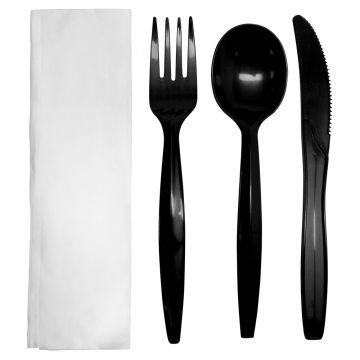 Karat PP Plastic Medium-Heavy Weight Cutlery Kits - Black - 250 ct