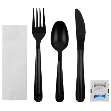 Karat PP Plastic Heavy Weight Cutlery Kits with Salt and Pepper - Black - 250 ct