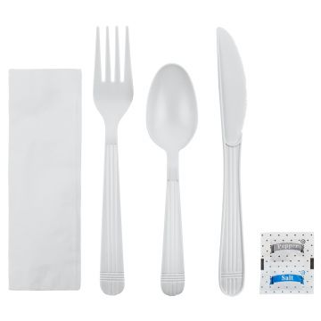 Karat PP Plastic Heavy Weight Cutlery Kits with Salt and Pepper - White - 250 ct