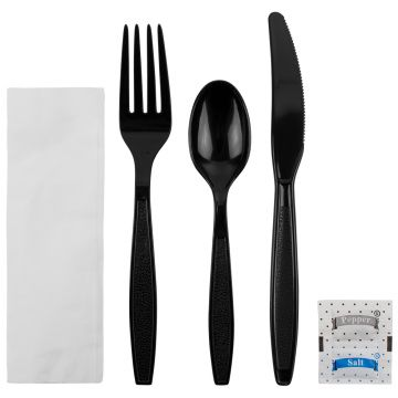 Karat PS Plastic Heavy Weight Cutlery Kits with Salt and Pepper - Black - 250 ct
