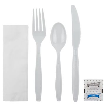 Karat PS Plastic Heavy Weight Cutlery Kits with Salt and Pepper - White - 250 ct
