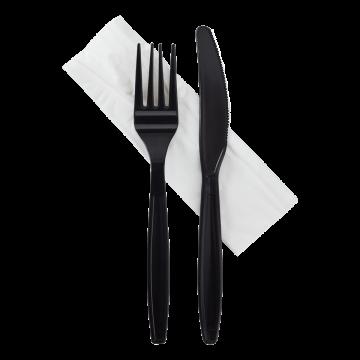 Karat Heavy-Weight Cutlery Kits (Knife, Fork, 1-ply Napkin) - Black - 500 ct