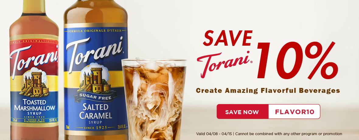 Save 10% on Torani Syrups & Sauces