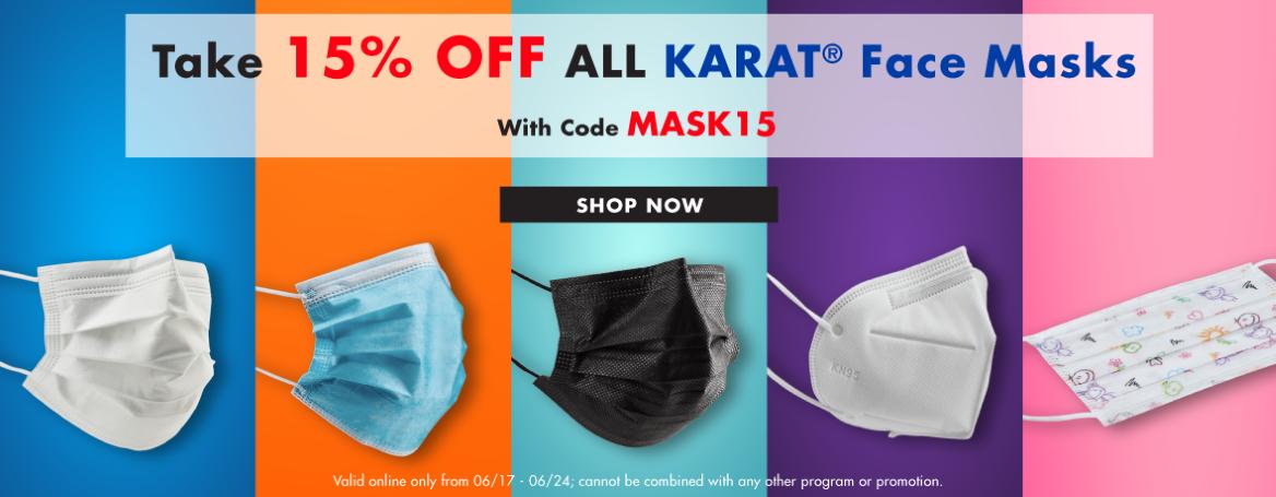 15% OFF all Karat Face Masks